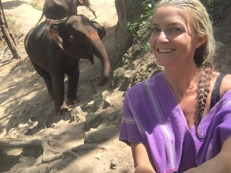 Me taking a selfie with an elephant who smiled for the camera :)